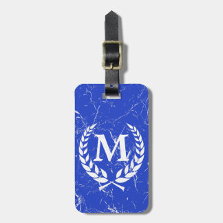 Marbled Antique Bold Monogrammed Blue Luggage Tag