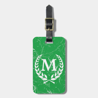 Marbled Antique Bold Monogrammed Green Luggage Tag