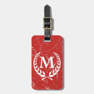 Marbled Antique Bold Monogrammed Red Luggage Tag