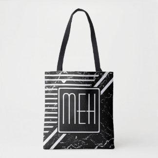 Marbled Black Wrapped Stripe Monogram Tote Bag