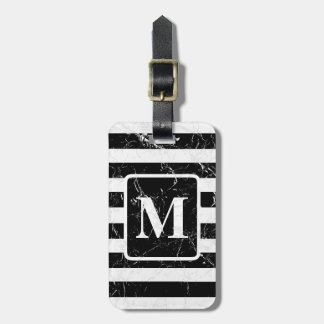 Marbled Block and Stripe Monogram Luggage Tag