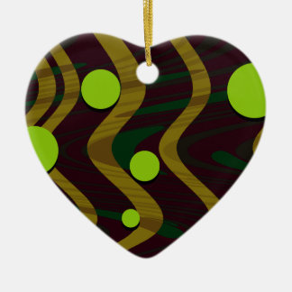 Marbled Dot Wave Green Gold Ceramic Heart Decoration