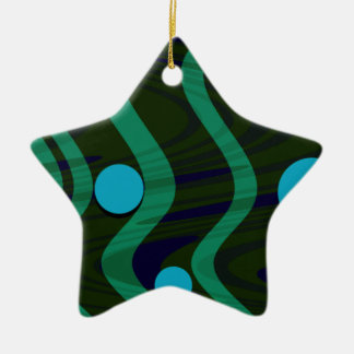 Marbled Dot Wave Green Gold Ceramic Star Decoration