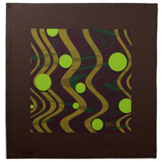 Marbled Dot Wave Green Gold Napkin