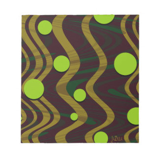 Marbled Dot Wave Green Gold Notepad
