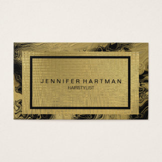 Marbled Faux Gold Foil Business Card