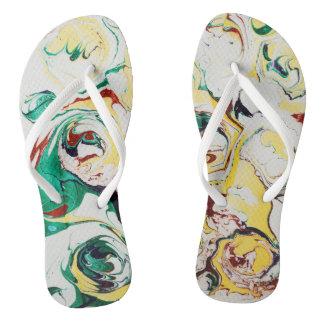 Marbled Flowers Flip Flops