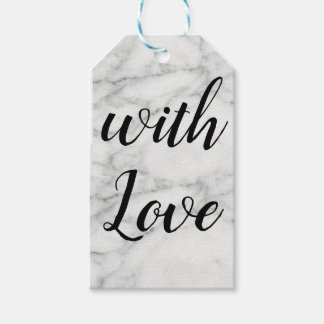 "Marbled gift tag black and white ""with love"""