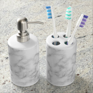 Marbled Gray White Marble Stone Pattern Background Bathroom Set
