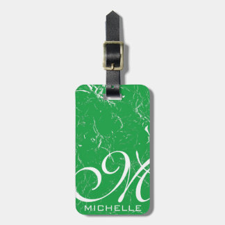 Marbled Green Script Monogrammed Luggage Tag