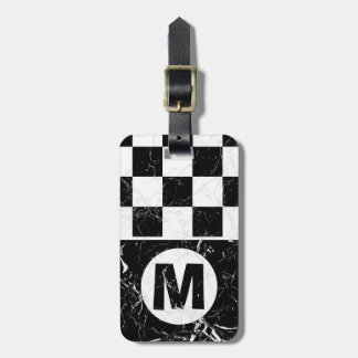 Marbled Metro Retro Monogrammed Luggage Tag