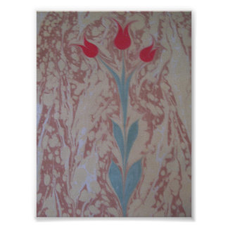 Marbled paper three tulip poster