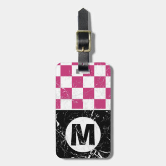 Marbled Pink Metro Retro Monogrammed Luggage Tag