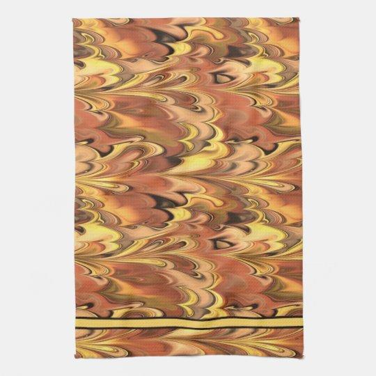 Marbled Rainbow Swirled Rust & Gold Tea Towel