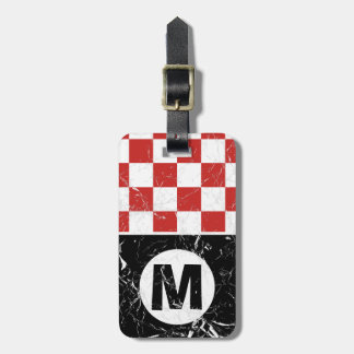 Marbled Red Metro Retro Monogrammed Luggage Tag
