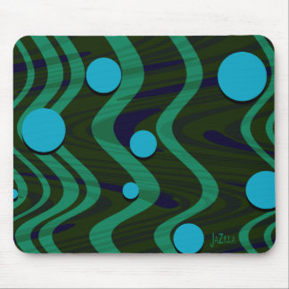 Marbled Retro Blue Green Dot Wave Mouse Mat