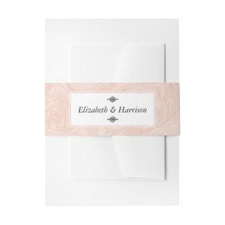 Marbled Rose Elegant Vintage Wedding Invitation Belly Band