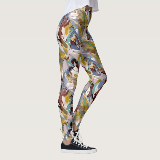 Marbled Swirly Paint Camo Yoga Pants Running