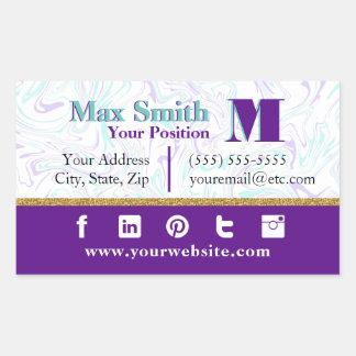 Marbled Teal & Purple Customizable Rectangular Sticker