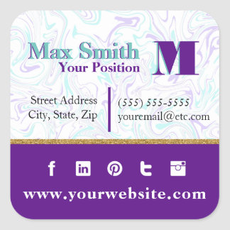 Marbled Teal & Purple Customizable Square Sticker