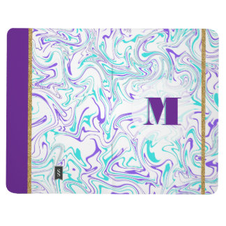 Marbled Teal & Purple with Customizable Background Journal