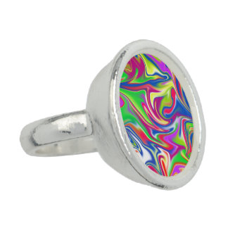 Marbleized Abstract Candy Round Silver Dress Ring.