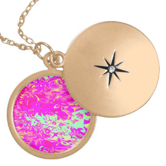 Marbleized Look Pinks Greens Yellow and Blue Gold Plated Necklace