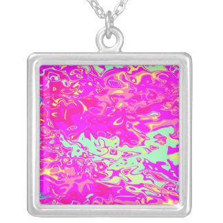 Marbleized Look Pinks Greens Yellow and Blue Silver Plated Necklace