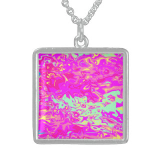 Marbleized Look Pinks Greens Yellow and Blue Sterling Silver Necklace