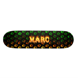 Marc skateboard fire and flames design.