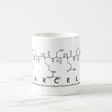 Mug featuring the name Marcela spelled out in the single letter amino acid code