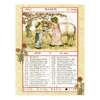 March 1884 Almanac.  Aries, The Ram Postcard