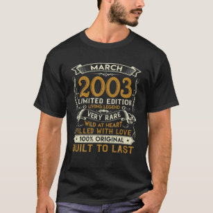 March 2003 Vintage 18 Years Old 18th Birthday Gift T-Shirt