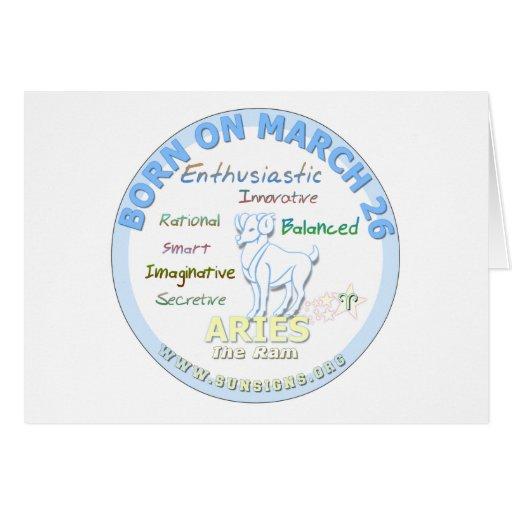 March 26th Birthday - Aries Card