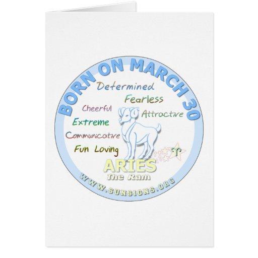 March 30th Birthday - Aries Card