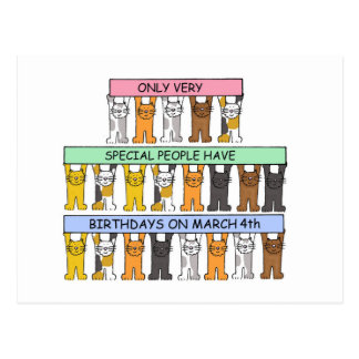 March 4th Birthdays clebrated by cats. Postcard