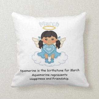 March Birthstone Angel Black Throw Cushions