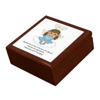 March Birthstone Angel Brunette Gift Box