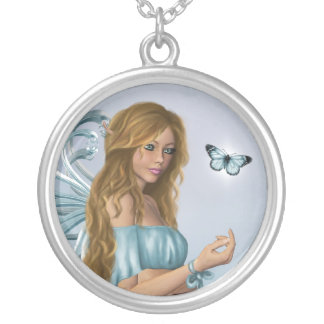March Birthstone Fairy Silver Plated Necklace