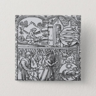 March, fishing and pruning trees, Pisces 15 Cm Square Badge