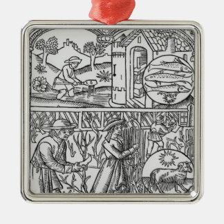 March, fishing and pruning trees, Pisces Christmas Ornament