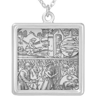 March, fishing and pruning trees, Pisces Silver Plated Necklace