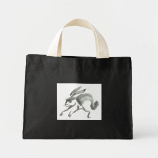 March Hare - Sumi-e [ink painting] Mini Tote Bag