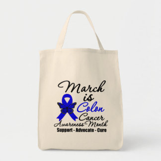 March is Colon Cancer Awareness Month Grocery Tote Bag