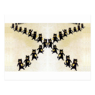 March of black cats, Louis Wain Postcard