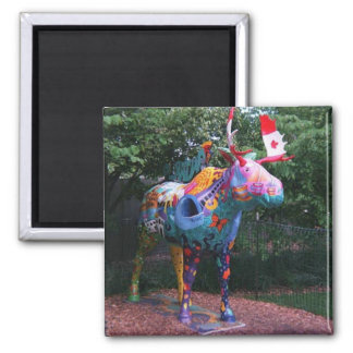 March of Moose Chicago Art Square Magnet