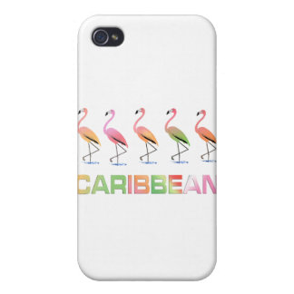 March of the Tropical Flamingos CARIBBEAN iPhone 4 Covers