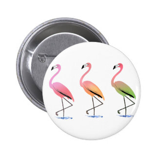 March of the Tropical Flamingos Pinback Button