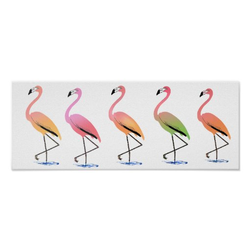 March of the Tropical Flamingos Print