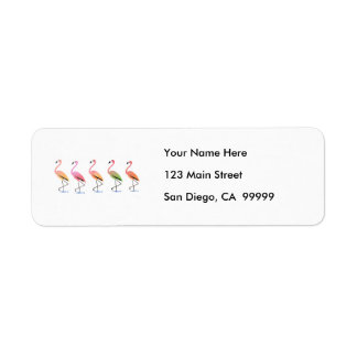 March of the Tropical Flamingos Return Address Label